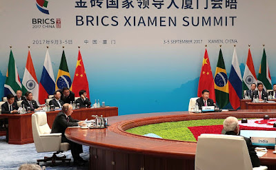 Russian President Vladimir Putin at the BRICS Leaders meeting in the expanded format.