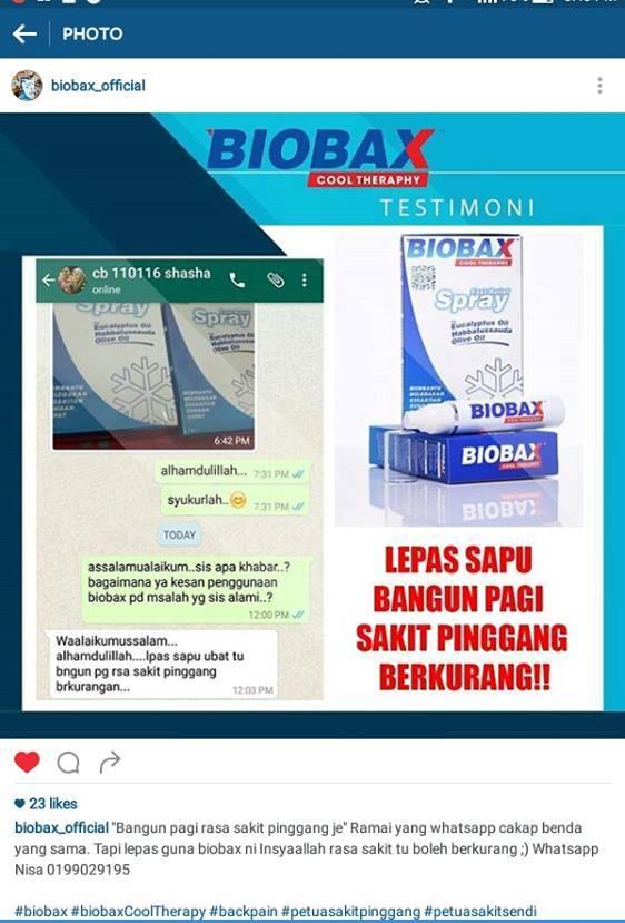 testimoni, biobax cool theraphy, petua menghilangkan sakit pinggang