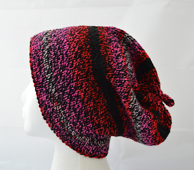 pink, red & black slouchy hat for Valentines gift, for sale at https://www.etsy.com/listing/588100369/hand-knit-slouchy-hat-slouchy-beanie?ref=shop_home_active_2