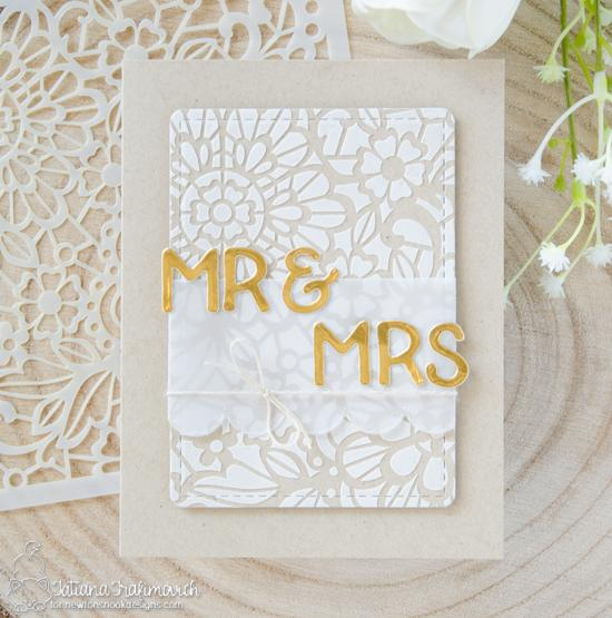 Stenciled Lace Wedding Card by Tatiana Trafimovich| Essential Alphabet Die Set & NEW Floral Lace Stencil by Newton's Nook Designs #newtonsnook #handmade