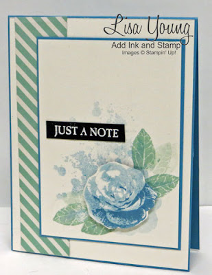 Stampin' Up! Picture Perfect stamp set. Blue rose. Handmade card by Lisa Young, Add Ink and Stamp