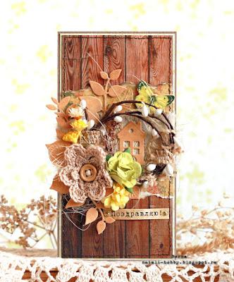 весна, бумага с текстурой дерева, открытка своими руками