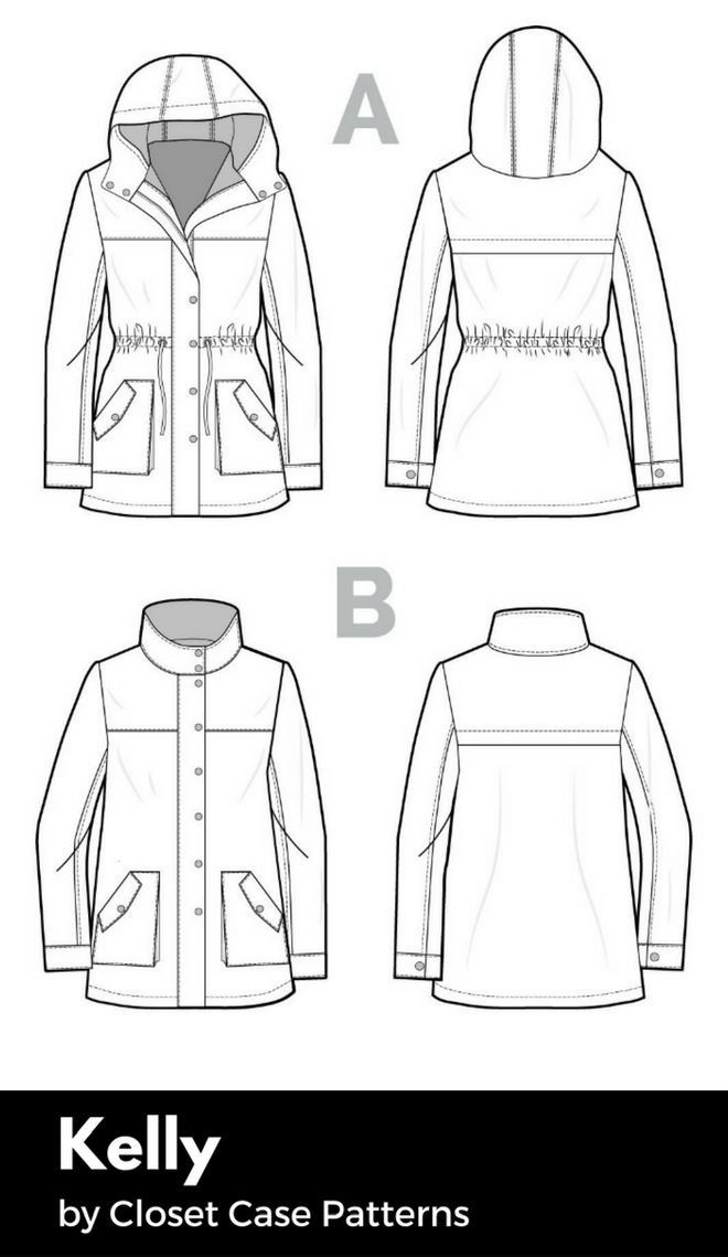 Technical drawing of the Kelly anorak pattern.