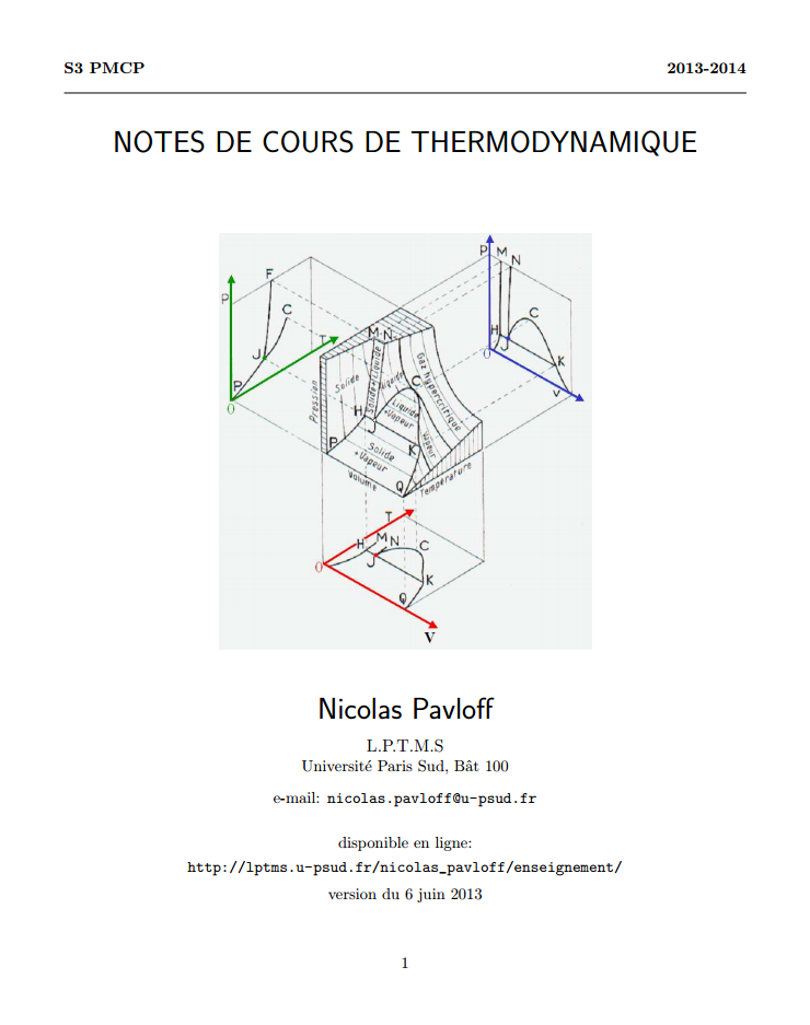 notes de cours de thermodynamique