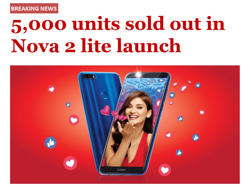 Huawei sold 5,000 units of Nova 2 lite in the first day of its PH debut