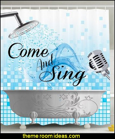 Sing Along Funny Quotes Shower Singing Musician Gifts for Men Women Music Lover Musical Notes Bath Bubbles Waterdrops Bathroom Accesories Polyester Fabric Blue and White Fun Shower Curtain