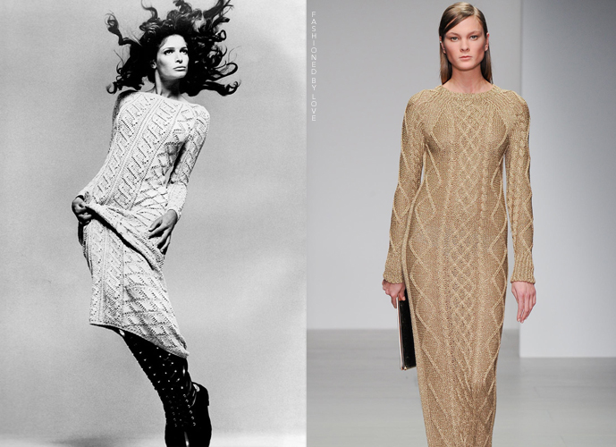 Fashion copycats Stephanie Seymour in Versace Fall/Winter 1993 photographed by Richard Avedon VS Daks Fall/Winter 2014 via www.fashionedbylove.co.uk