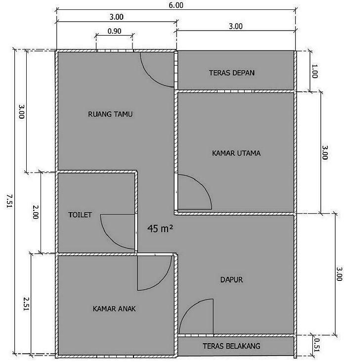 10 Ide Denah Terbaik Untuk Rumah Ukuran 6x8 Minimalis Sederhana