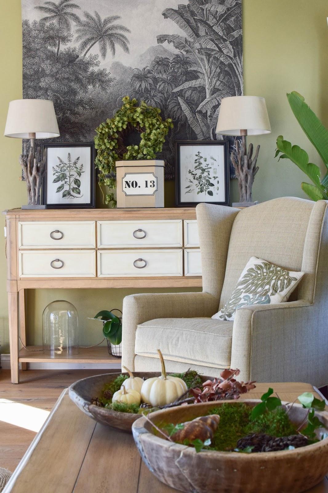 Urban Jungle: Deko fürs Wohnzimmer im Herbst im Botanical Style. Opulent, Gemütlich und eklektisch. Dekoidee, Interior, Einrichtung, Dekoration