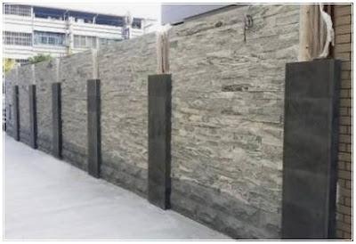 gambar model pagar minimalis batu alam sederhana