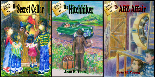 panel of three covers for Dubois Files children's mysteries