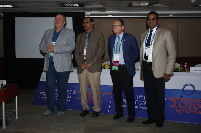 Werner Hacke (Incoming President, WSO)_ Dr Jeyaraj Pandian_ Stephen Davis (Immediate Past President, WSO) and Dr Nagesh Uppuluri (Sr Director, Medtronic Neurovascular)