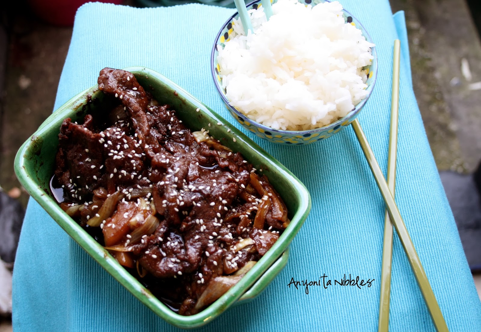 Beef Bulgogi with Sesame Seeds and Rice