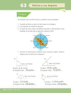 Respuestas Apoyo Primaria Desafíos matemáticos 3ro Grado Bloque IV Lección 63 México y sus ángulos