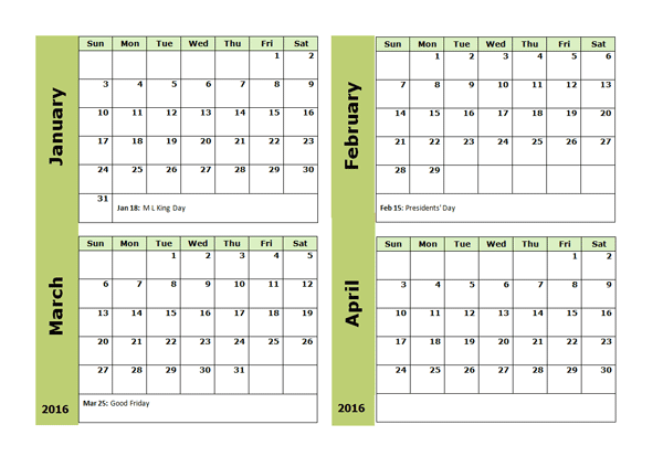 ... Printable Calendar 2016: Jan Feb March April 4 Months Calendar 2016