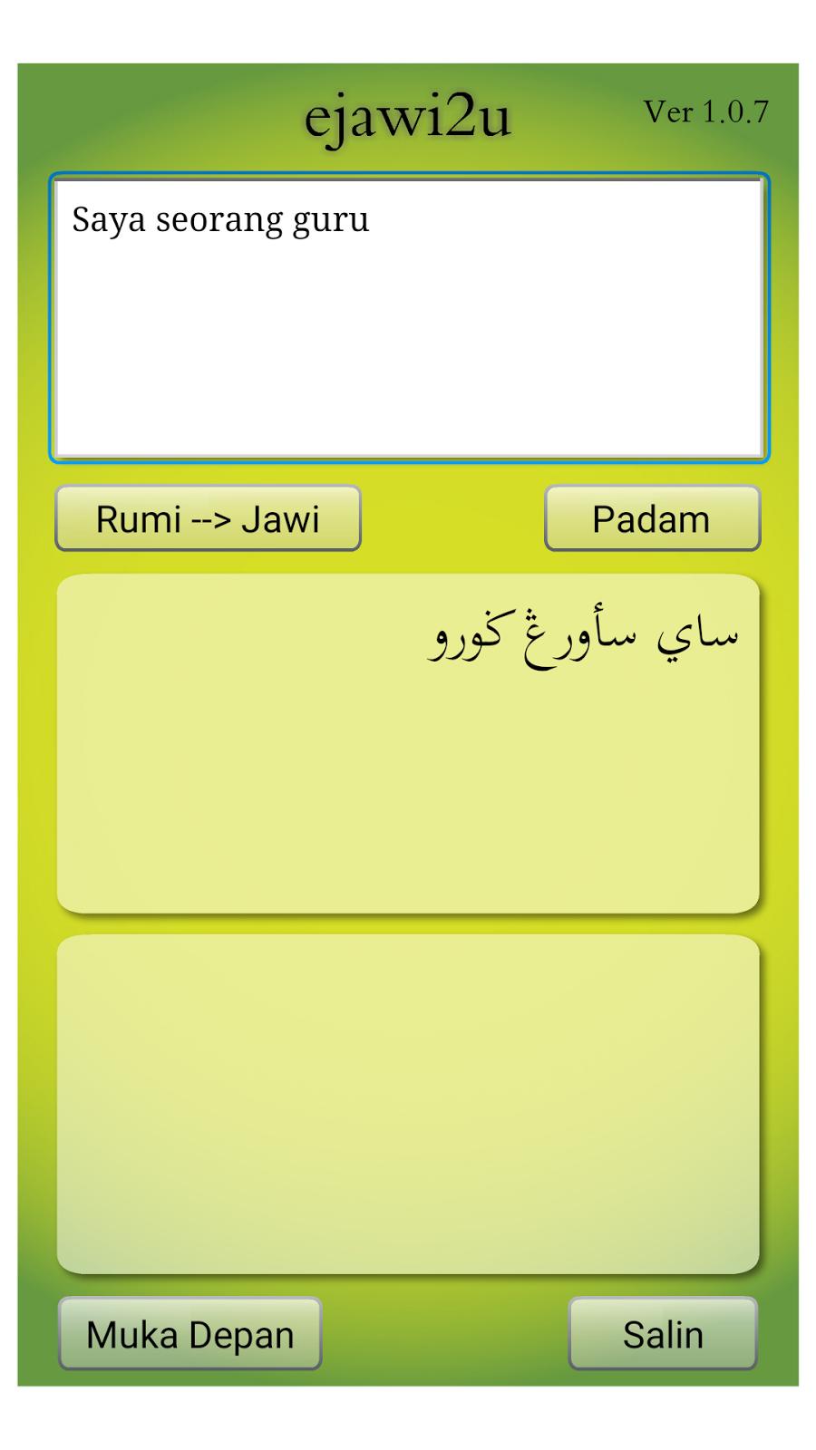 Translate Bahasa Melayu Ke Jawi