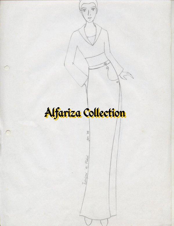 Desain Sketsa Dress Wanita