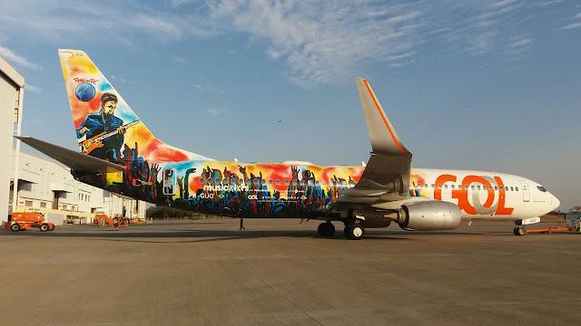 AÉREAS: Aeronave ganha arte inédita inspirada em músicas do Rock in Rio