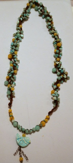 Tweetie: polymer art bead by Jeannie Dukic, bronze, jade, blue stone, ooak necklace, Echo Creative Club :: All Pretty Things