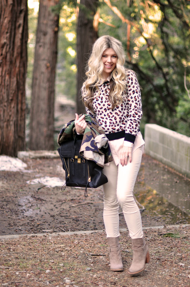 neutral outfit, cheetah and camo prints