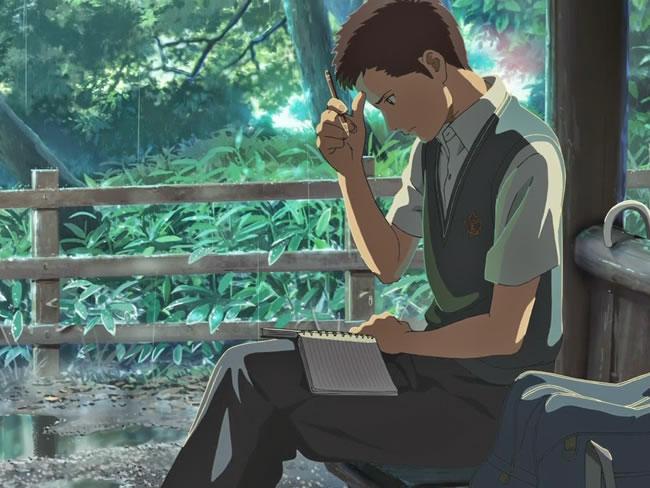 O Jardim das Palavras/></a></center><br><br> A princípio, o que causa curiosidade é a diferença de idade entre os protagonistas, mas ao meu ver não se trata de um romance e acredito que isso se deva justamente para quebrar o estereótipo de um adolescente imaturo e uma adulta responsável, já que Takao Akizuki é um rapaz responsável que se dedica ao máximo a se tornar um designer de sapatos e Yukino claramente não consegue lidar com seus problemas profissionais. Contudo, nem tudo é tão evidente, já que a animação prioriza sentimentos ao invés de palavras e no fim, é possível identificar-se com os dois personagens, cada um com seus medos, anseios e forma de ver a vida. O que une os dois, além do fato de enxergar no jardim um refúgio pessoal, é a chuva, ora forte, ora suave, mas igual para todos. <br><br> <center> <a href=