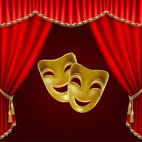Açık sahne perdesi altındaki iki gülen maske