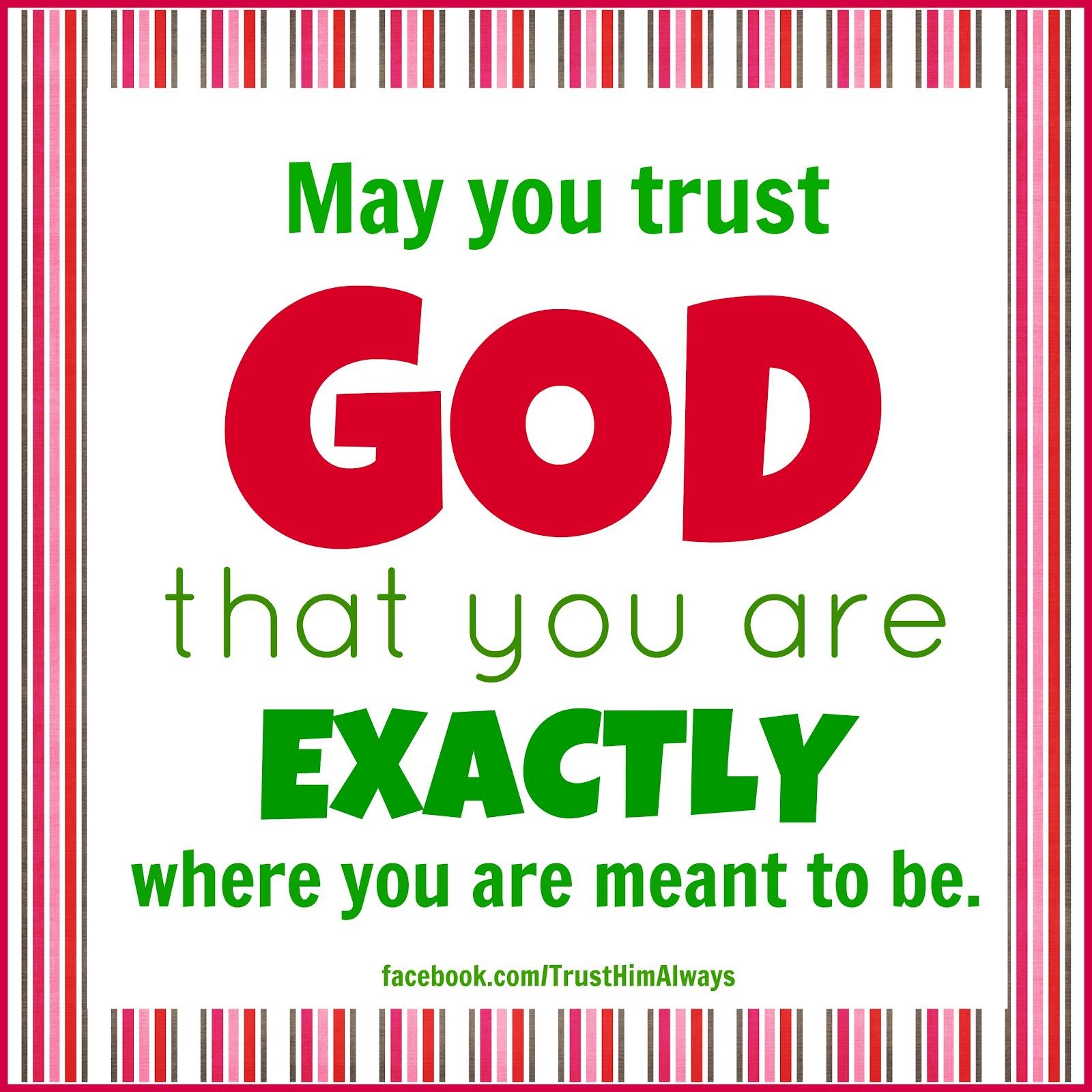Seeking Jesus: June 22, 2012 ~ Trust God's Plans