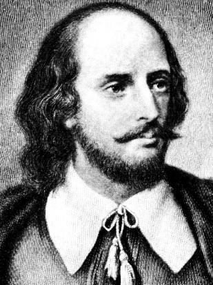 Dibujo de William Shakespeare en grises