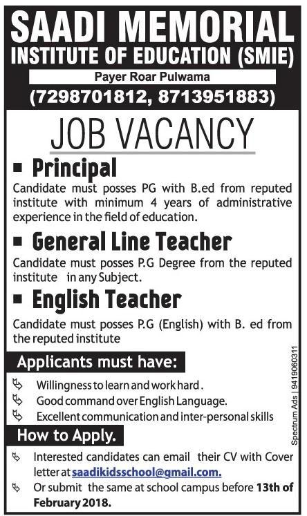 Saadi Memorial Institute of Education Pulwama has job vacancies