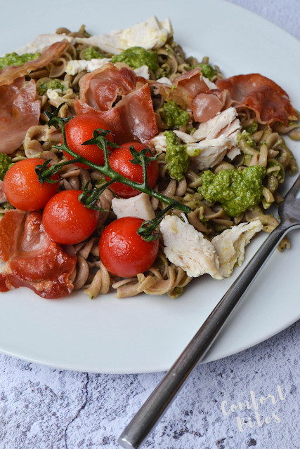 Paleo pasta with chicken, pesto, prosciutto and roasted tomatoes
