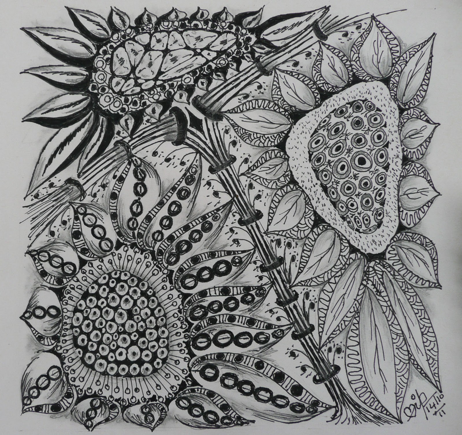 Zentangle Weekly Challenge 43 Sunflowers And Fibonacci Series