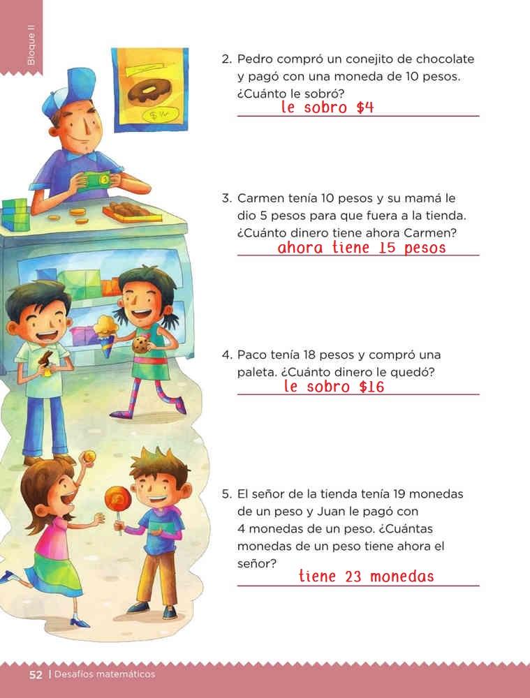 Libro de textoDesafíos Matemáticos¿Cuándo usar +, -, =?Primer gradoContestado