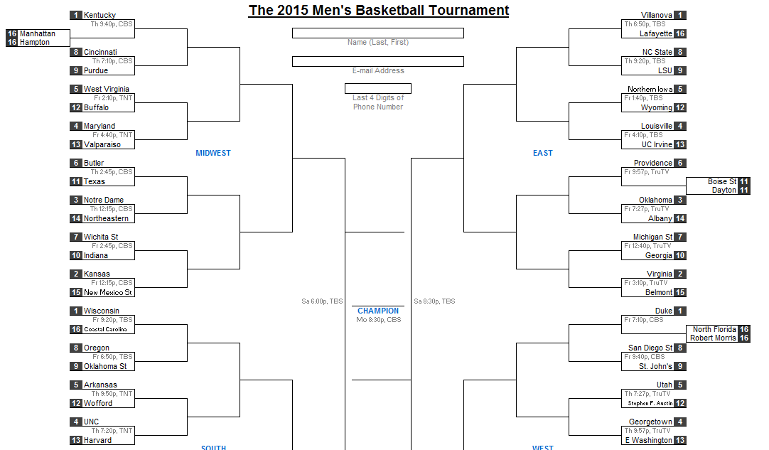 2015 march madness bracket excel