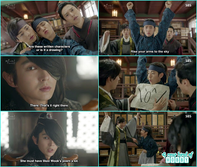 4th prince told them hae so reply meaning it was a emoji sign that mean she enjoyed the poem - Moon Lovers: Scarlet Heart Ryeo - Episode 5 Review