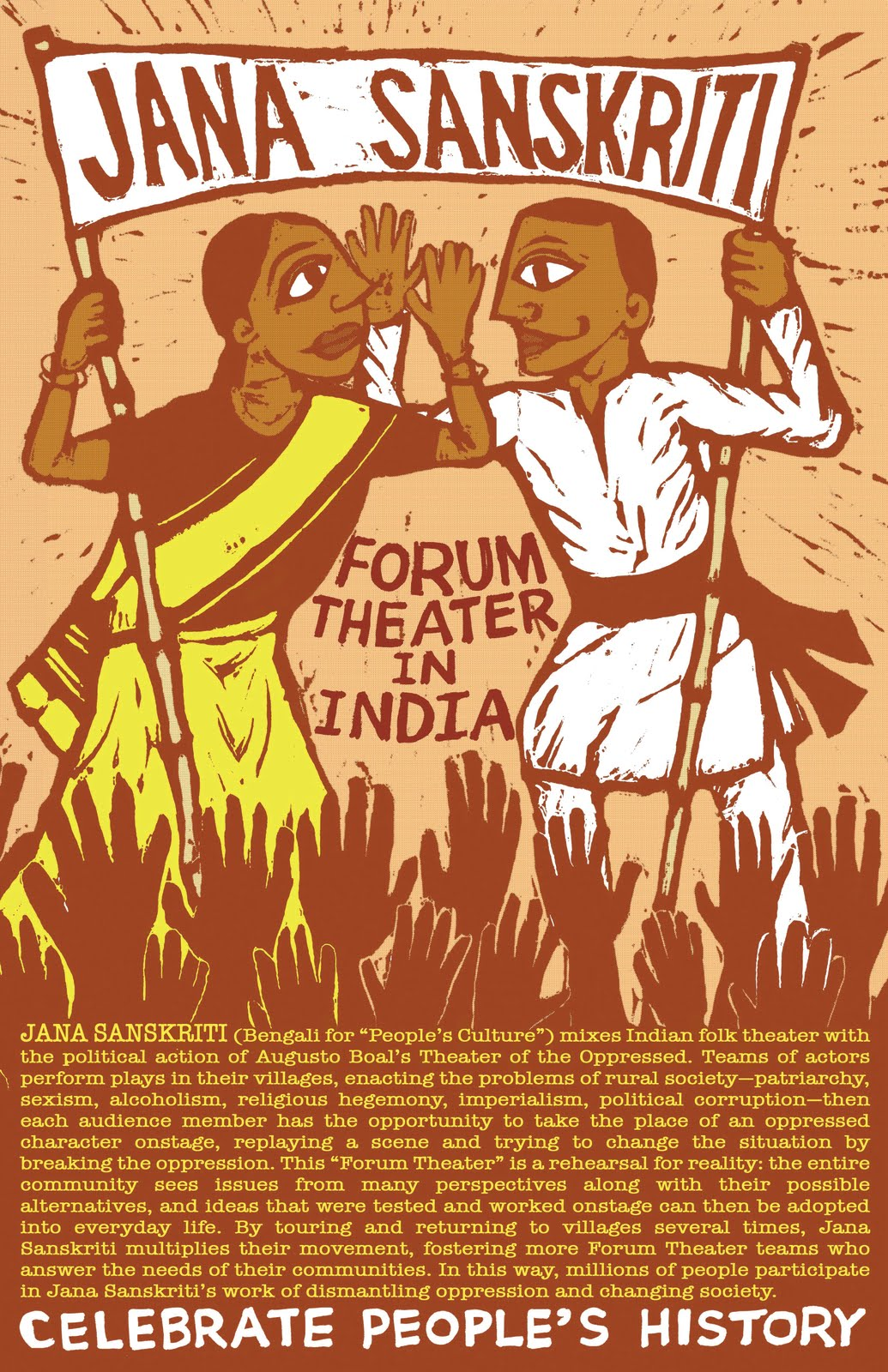 Its Finally Here The Celebrate Peoples History Poster About Jana Sanskriti Indias Theatre Of Oppressed Movement Founded In Villages West