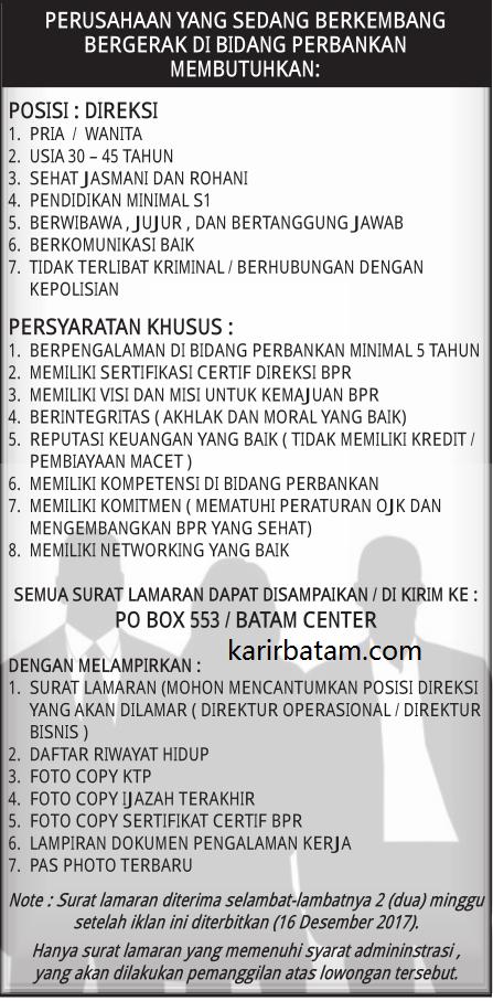 Lowongan Kerja PO BOX 553 Batam Centre (Ditutup 16 Desember 2017)