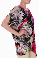 Bluza negra din jerse elastic cu imprimeu dungi si flori DonaKyros
