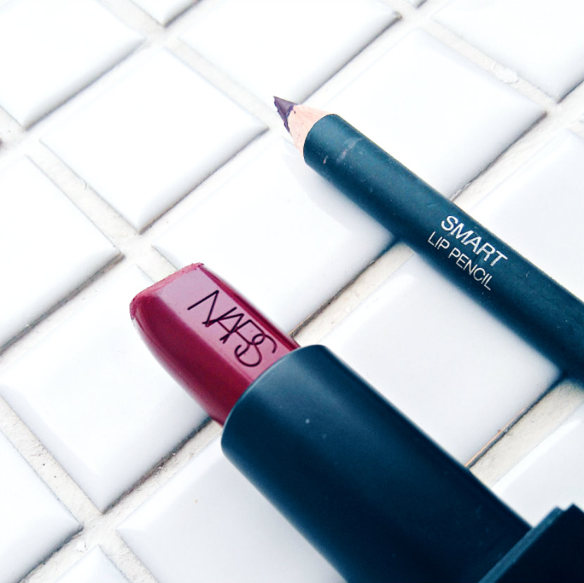 NARS Audacious Lipstick in Charlotte; Kiko Smart Lip Pencil in 710 Rouge Noir