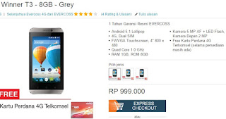 Harga Evercoss Winner T3 Android 4G Murah