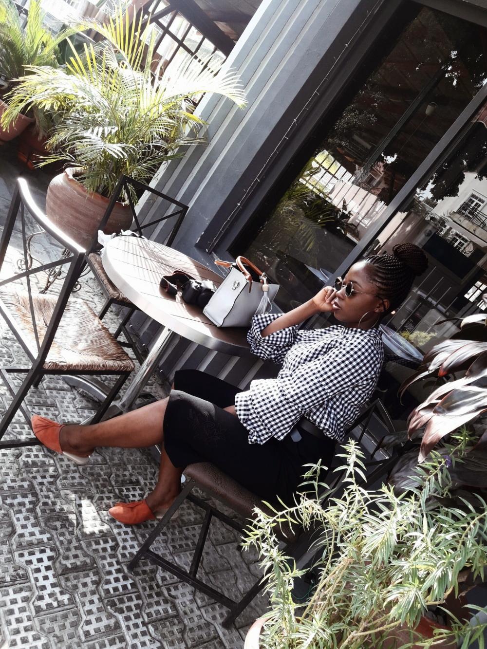 fashion blogger, Abuja Nigeria, gingham, plaid, mules