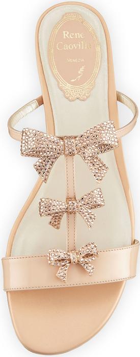 Rene Caovilla Bow-Embellished T-Strap Slide Sandal