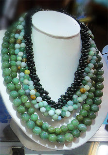 made in Burma with green jade beads big and small