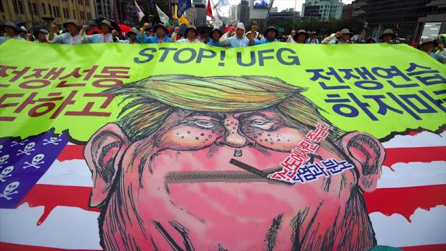 Surcoreanos protestan contra EEUU por tensiones en la península