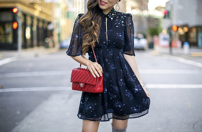 topshop Embellished Star Print Skater Dress, embellished star dress, little black dress, chanel classic flap, baublebar earrings, stuart weitzman highland boots, san francisco fashion blog