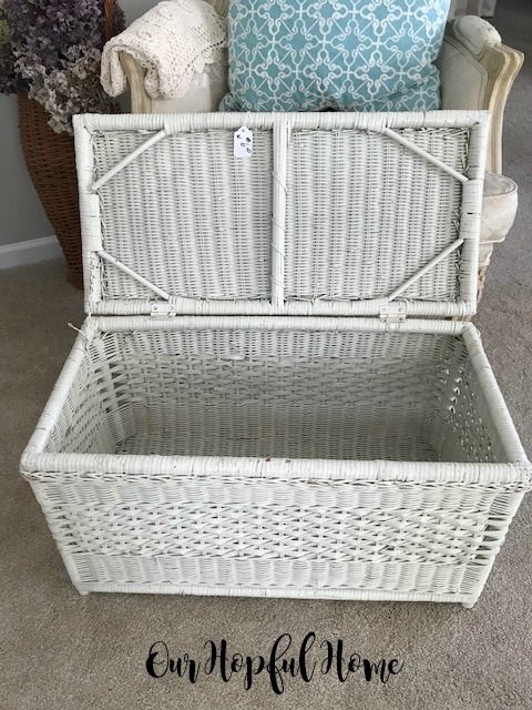 vintage white wicker trunk
