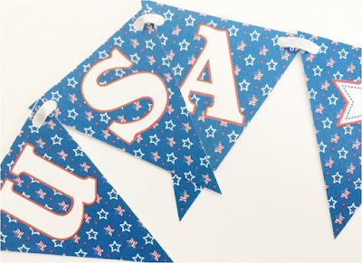Print out this festive and Patriotic Pennant Banner free printable. With it's super cute Uncle Sam graphics and the beautiful USA themed stars, you'll be able to wish a Happy Birthday to the USA and decorate for your Patriotic Party all in one party decoration.