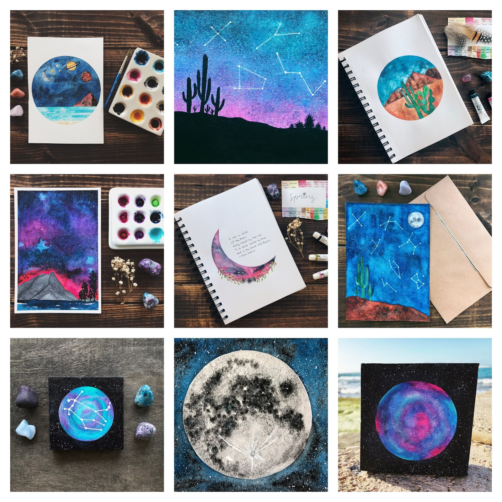 Galaxy Watercolor Art by theartsyboho.com