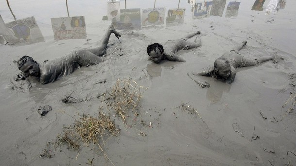 Mud Volcano Demonstration in Indonesia