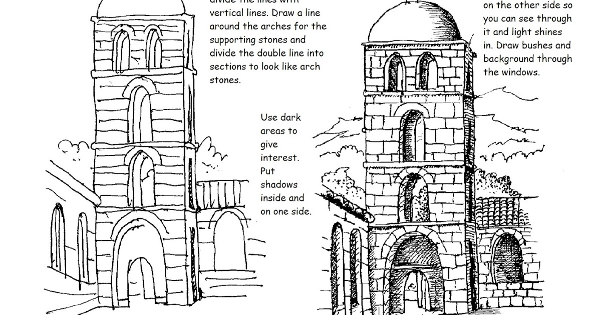 how to draw worksheets for the young artist free printable how to draw worksheet draw a bell tower