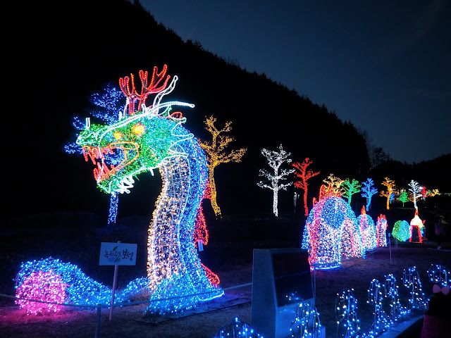 Dragon light display at the Light Festival in Boseong Green Tea Plantation, South Korea